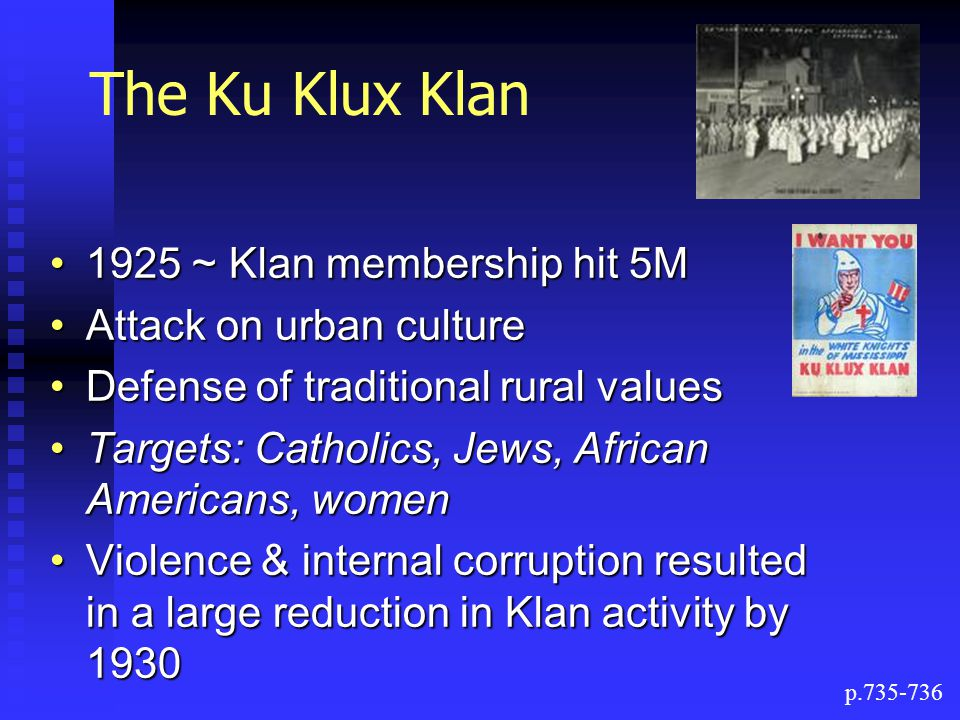 The Ku Klux Klan 1925 ~ Klan membership hit 5M Attack on urban culture