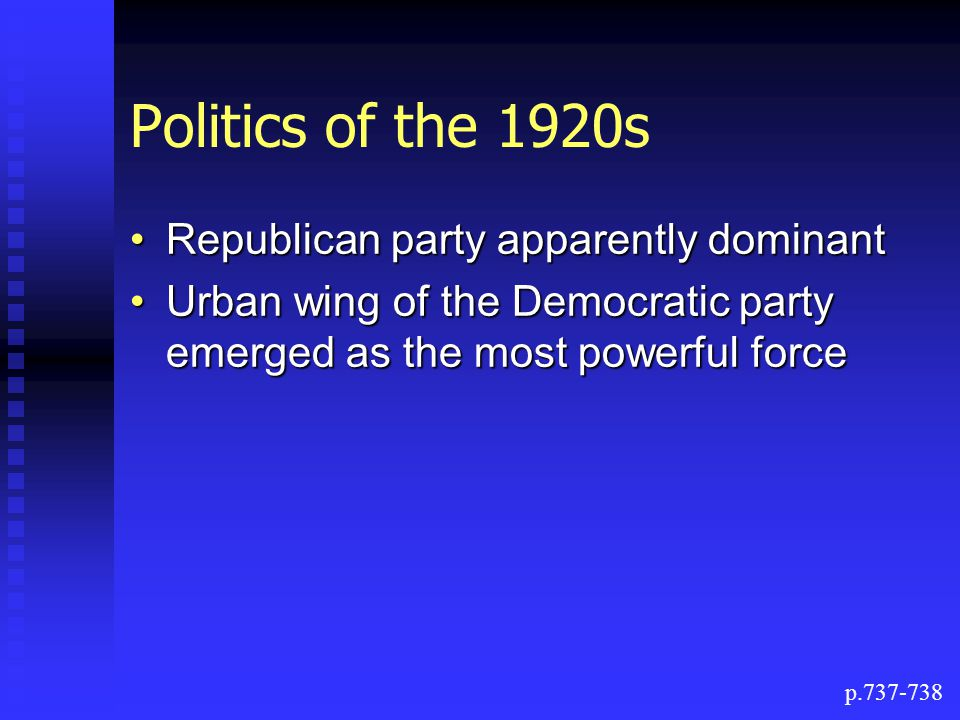 Politics of the 1920s Republican party apparently dominant
