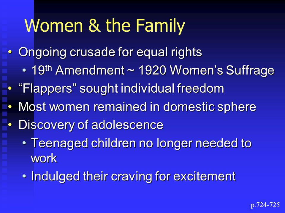 Women & the Family Ongoing crusade for equal rights