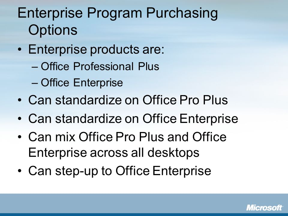 Enterprise Program Purchasing Options