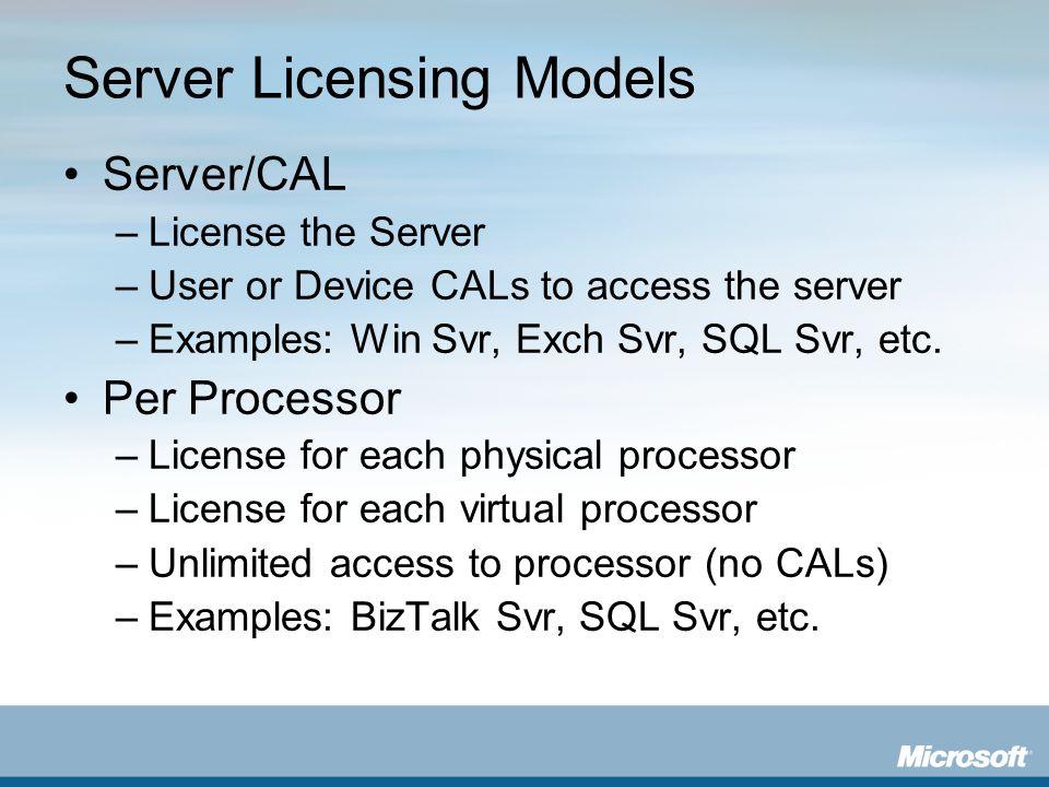 Server Licensing Models