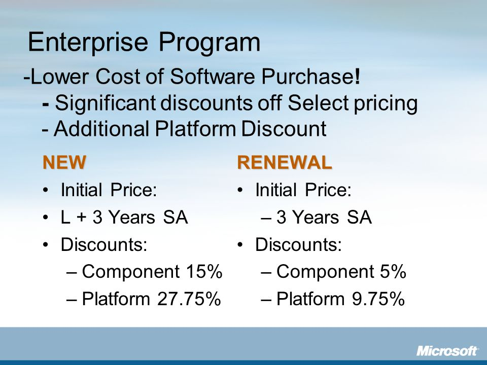 Enterprise Program -Lower Cost of Software Purchase! - Significant discounts off Select pricing - Additional Platform Discount.