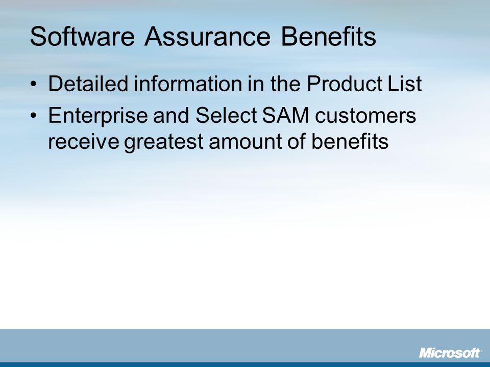 Software Assurance Benefits