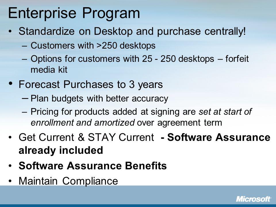 Enterprise Program Standardize on Desktop and purchase centrally!