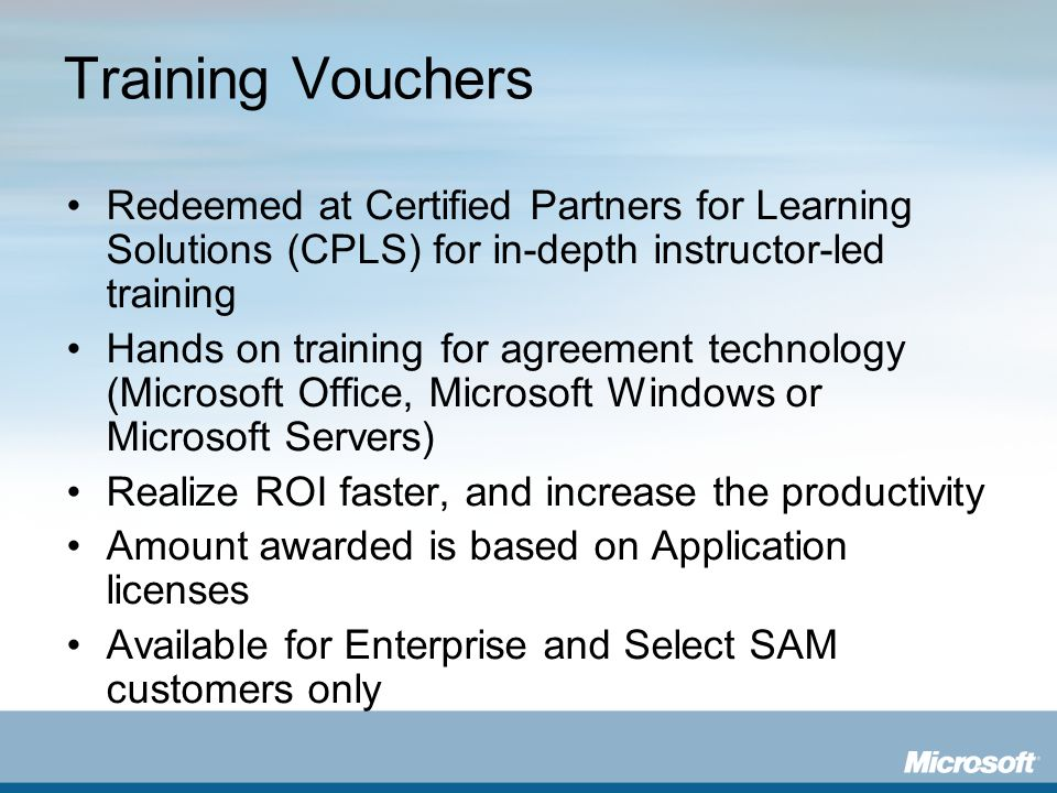 Training Vouchers Redeemed at Certified Partners for Learning Solutions (CPLS) for in-depth instructor-led training.