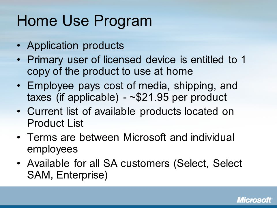 Home Use Program Application products