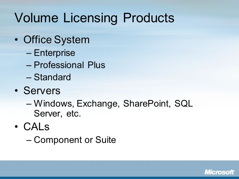 Volume Licensing Products