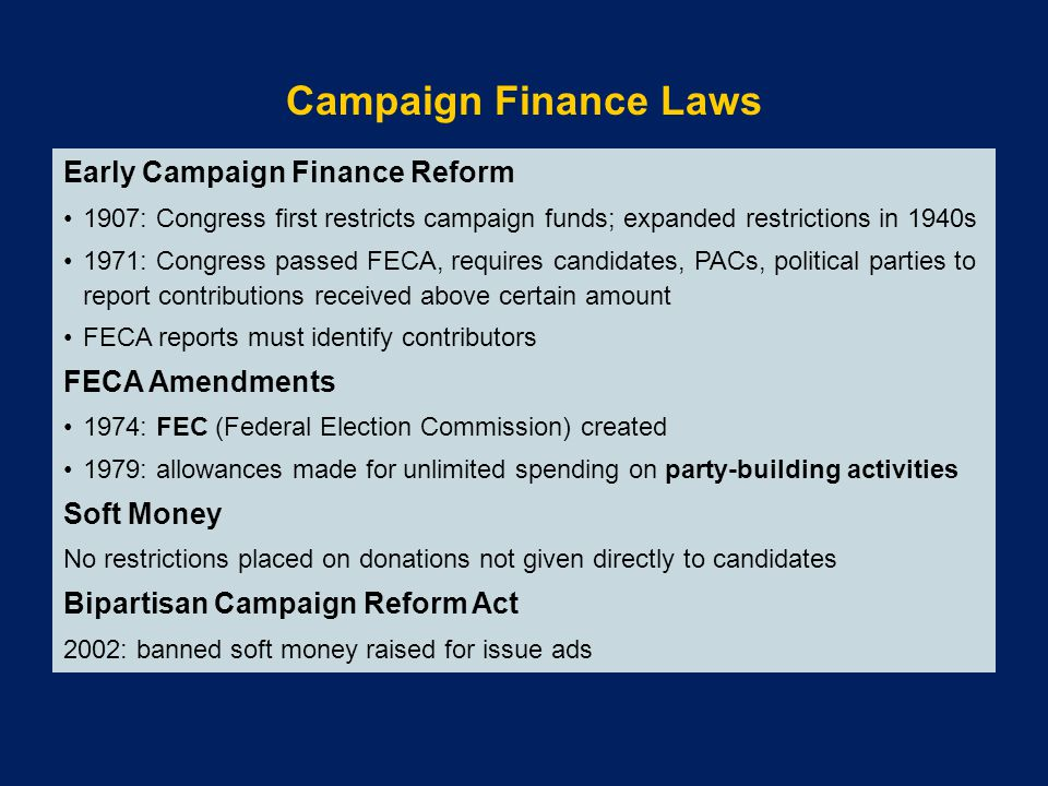 Campaign Finance Laws Early Campaign Finance Reform FECA Amendments