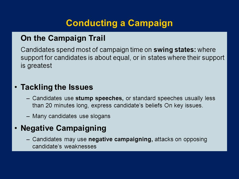 Conducting a Campaign Tackling the Issues Negative Campaigning