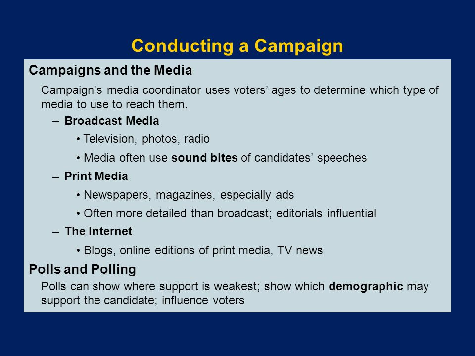 Conducting a Campaign Campaigns and the Media Polls and Polling