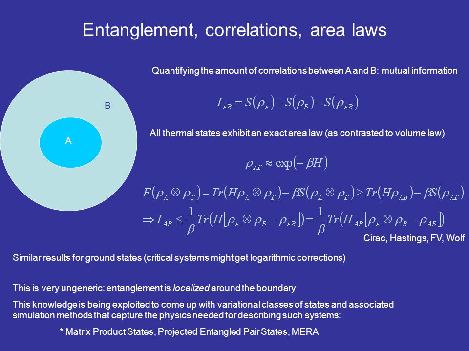 Entanglement, correlations, area laws
