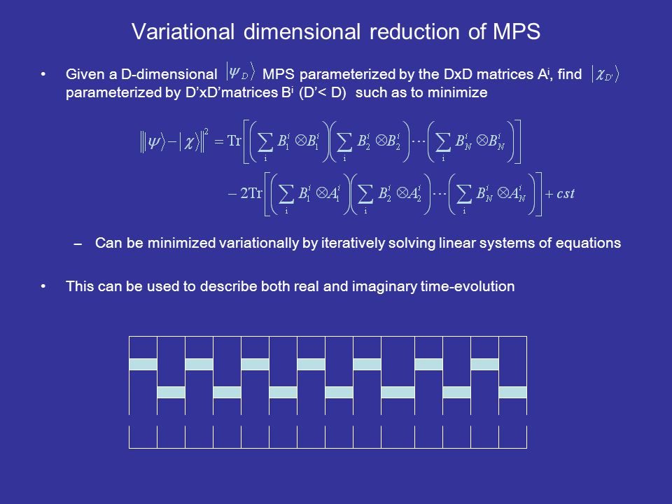 Variational dimensional reduction of MPS