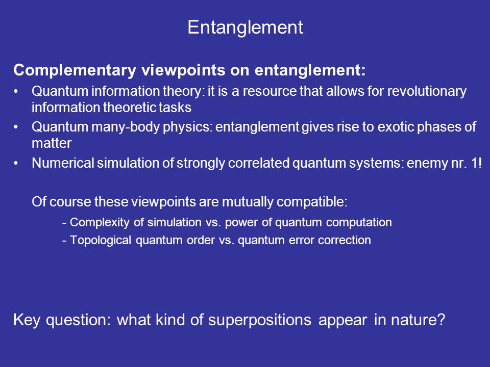 Entanglement Complementary viewpoints on entanglement: