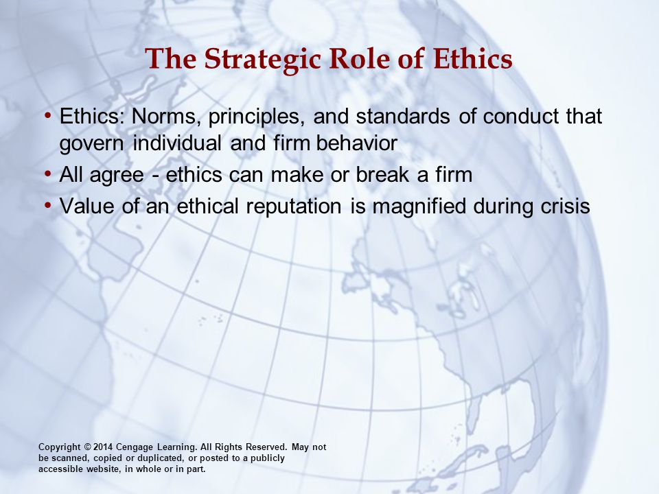 The Strategic Role of Ethics