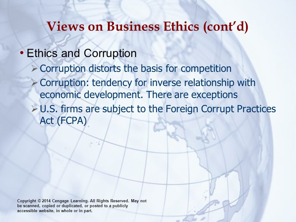 Views on Business Ethics (cont'd)
