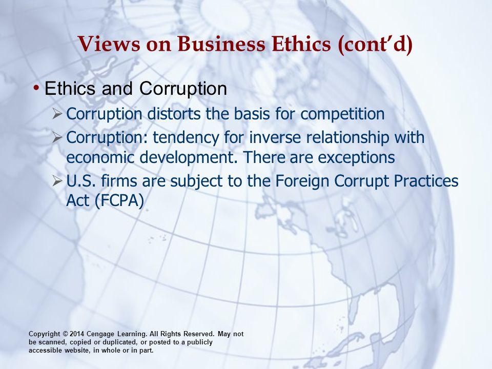 Views on Business Ethics (cont'd)