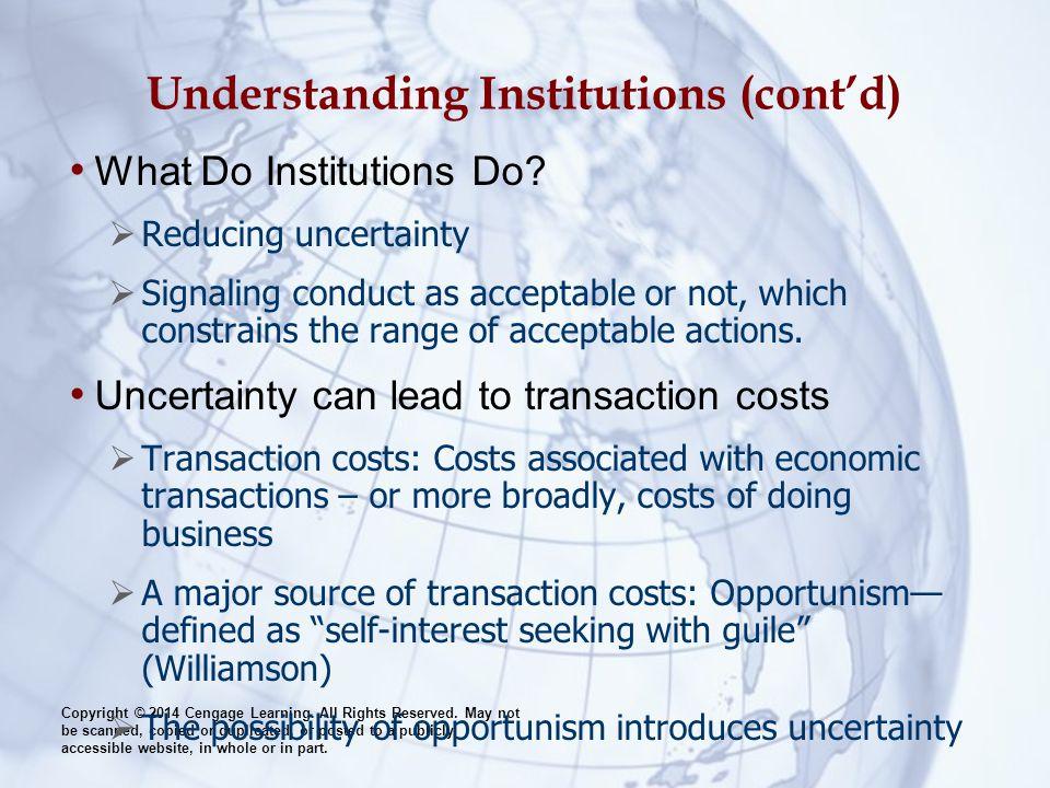Understanding Institutions (cont'd)