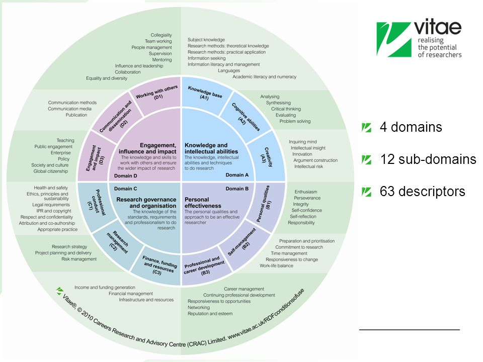 4 domains 12 sub-domains 63 descriptors 11 11