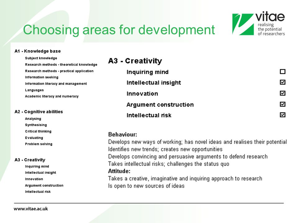 Choosing areas for development