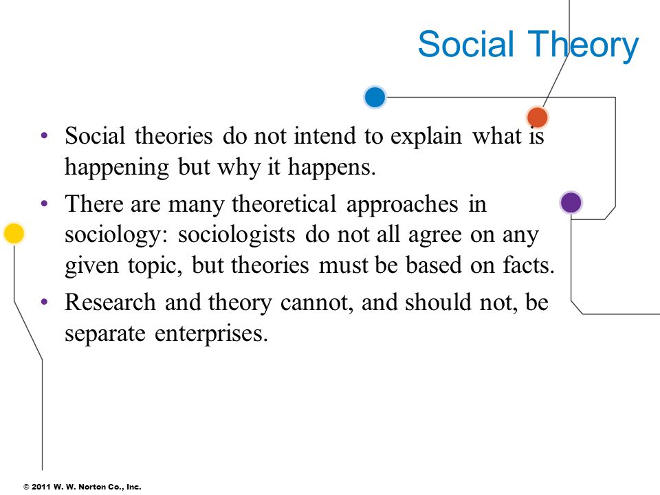 Social Theory Social theories do not intend to explain what is happening but why it happens.
