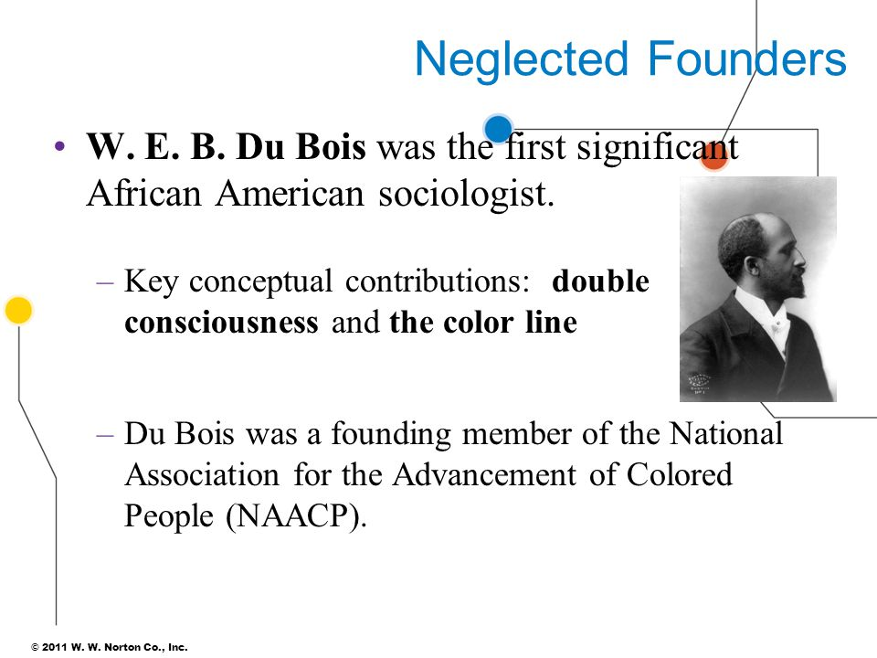 Neglected Founders W. E. B. Du Bois was the first significant African American sociologist.