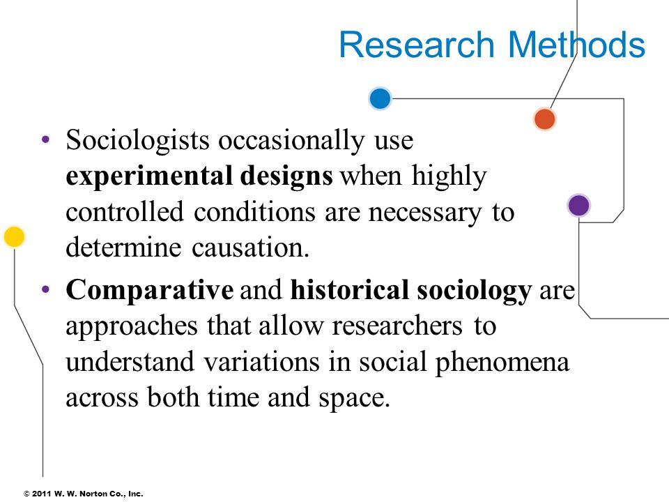 Research Methods Sociologists occasionally use experimental designs when highly controlled conditions are necessary to determine causation.