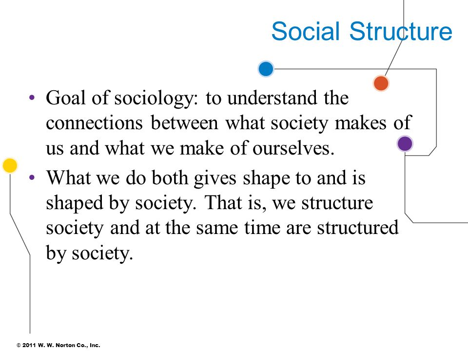 Social Structure Goal of sociology: to understand the connections between what society makes of us and what we make of ourselves.
