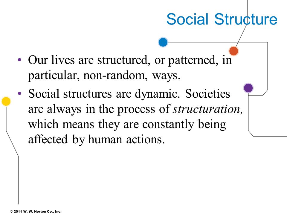 Social Structure Our lives are structured, or patterned, in particular, non-random, ways.