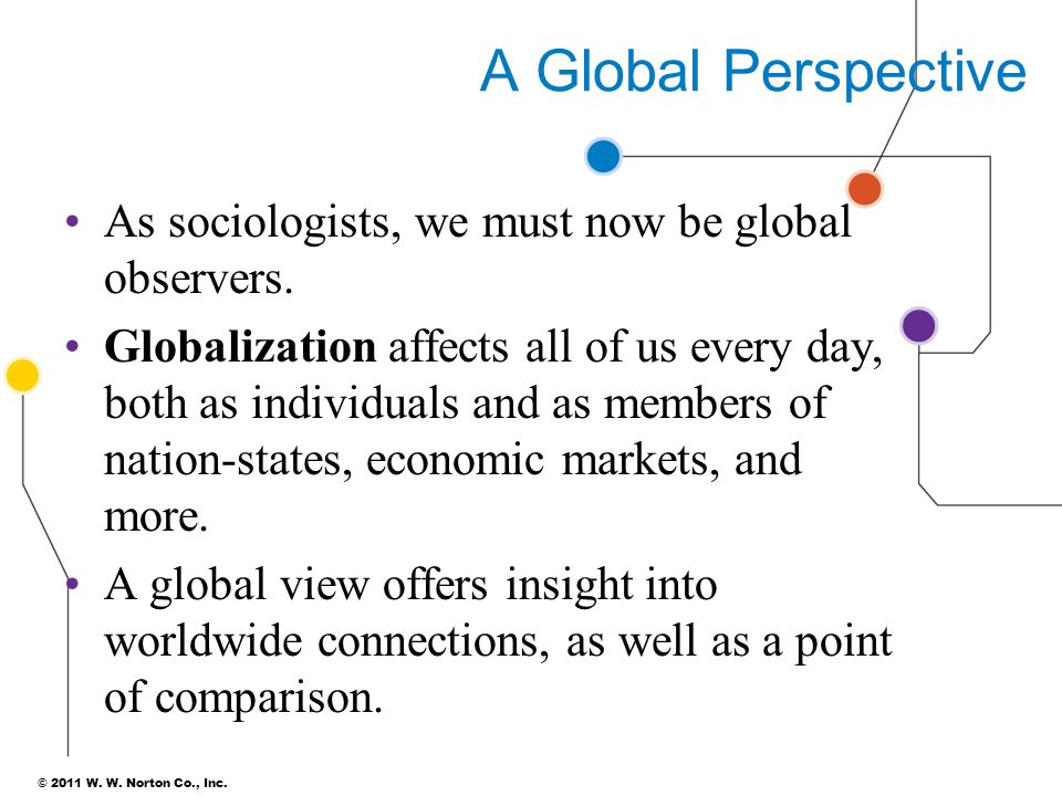 A Global Perspective As sociologists, we must now be global observers.