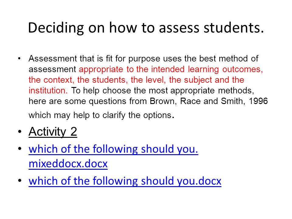 Deciding on how to assess students.
