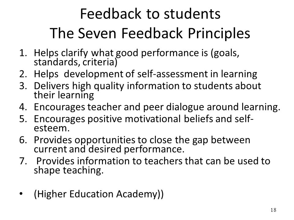 Feedback to students The Seven Feedback Principles