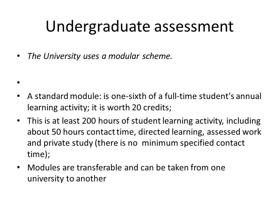 Undergraduate assessment