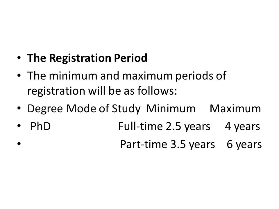 The Registration Period