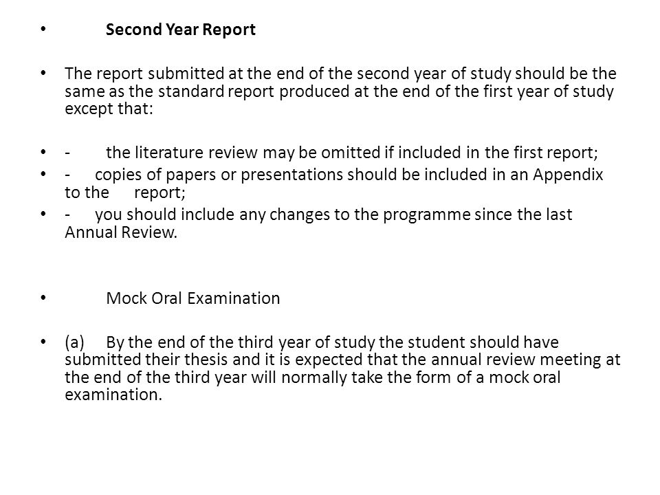 Second Year Report