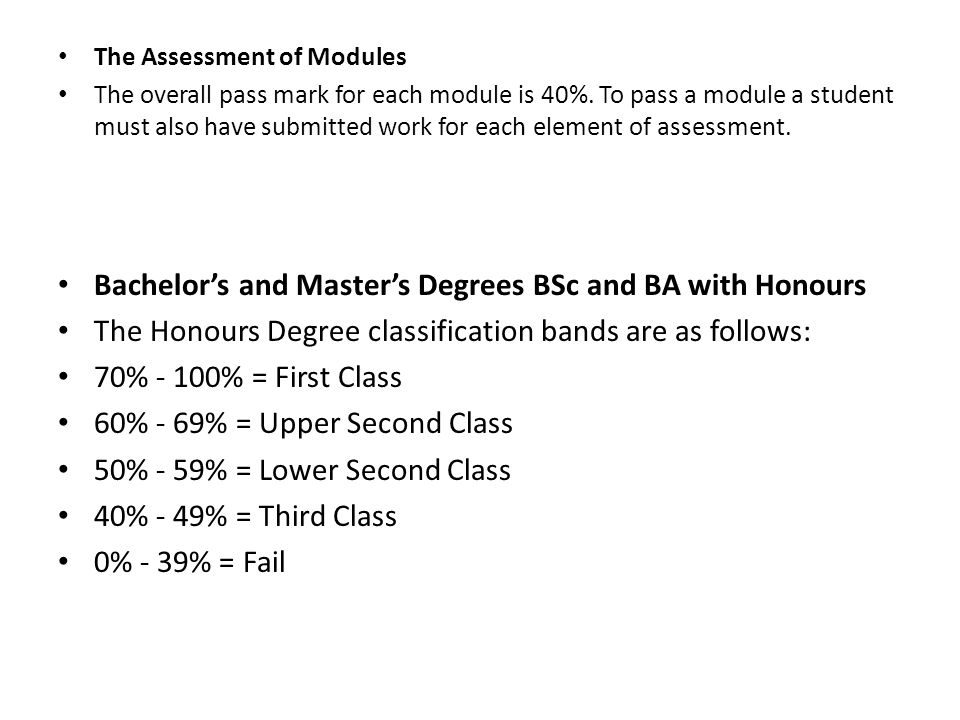 Bachelor's and Master's Degrees BSc and BA with Honours