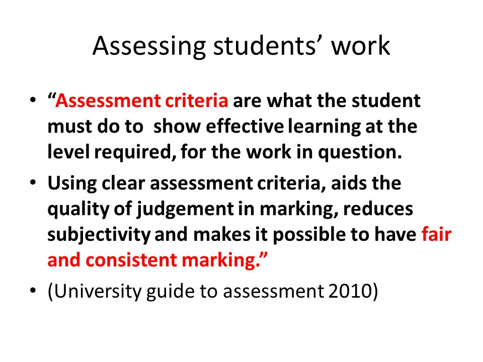Assessing students' work