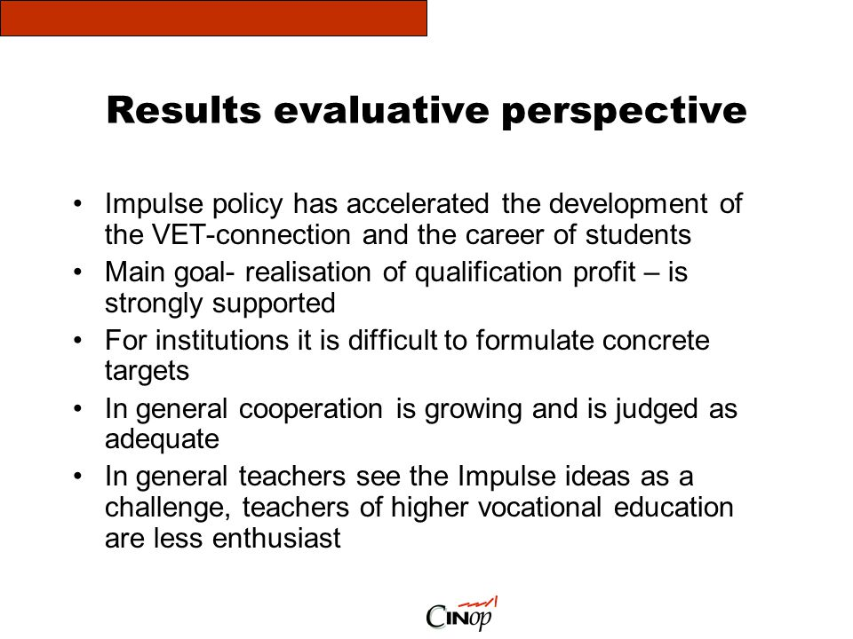 Results evaluative perspective