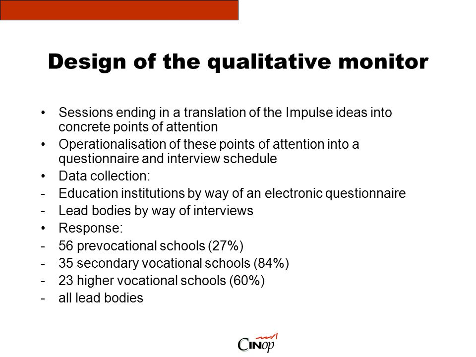 Design of the qualitative monitor