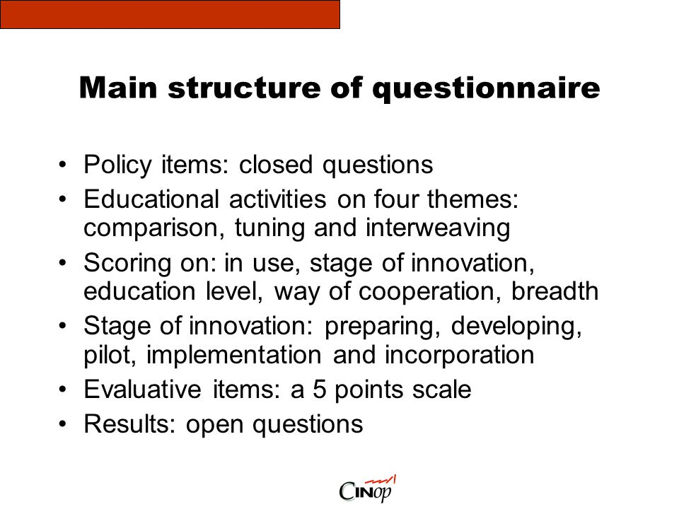 Main structure of questionnaire