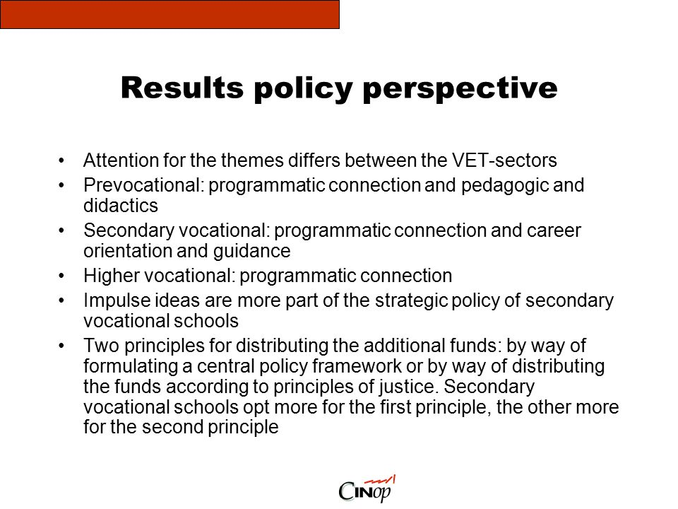 Results policy perspective