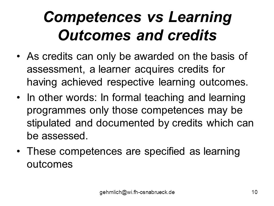 Competences vs Learning Outcomes and credits