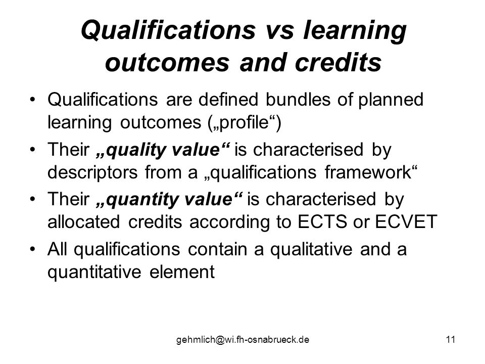 Qualifications vs learning outcomes and credits