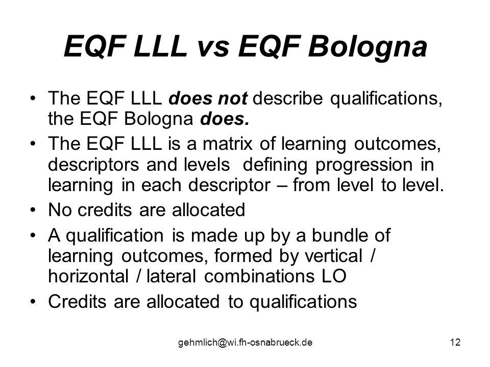 EQF LLL vs EQF Bologna The EQF LLL does not describe qualifications, the EQF Bologna does.