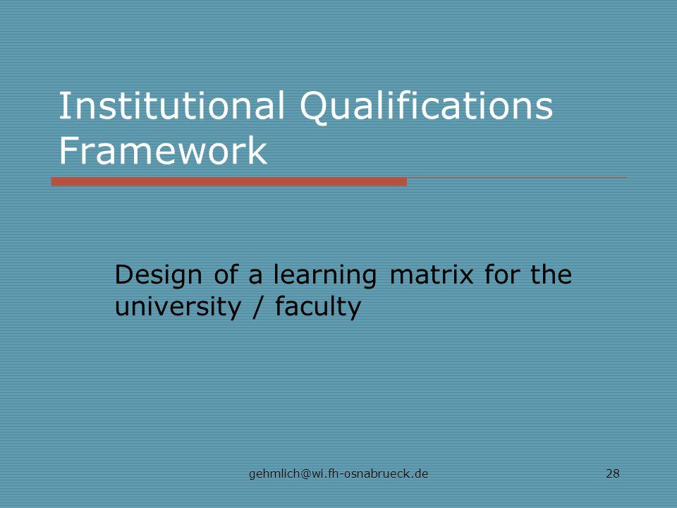 Institutional Qualifications Framework