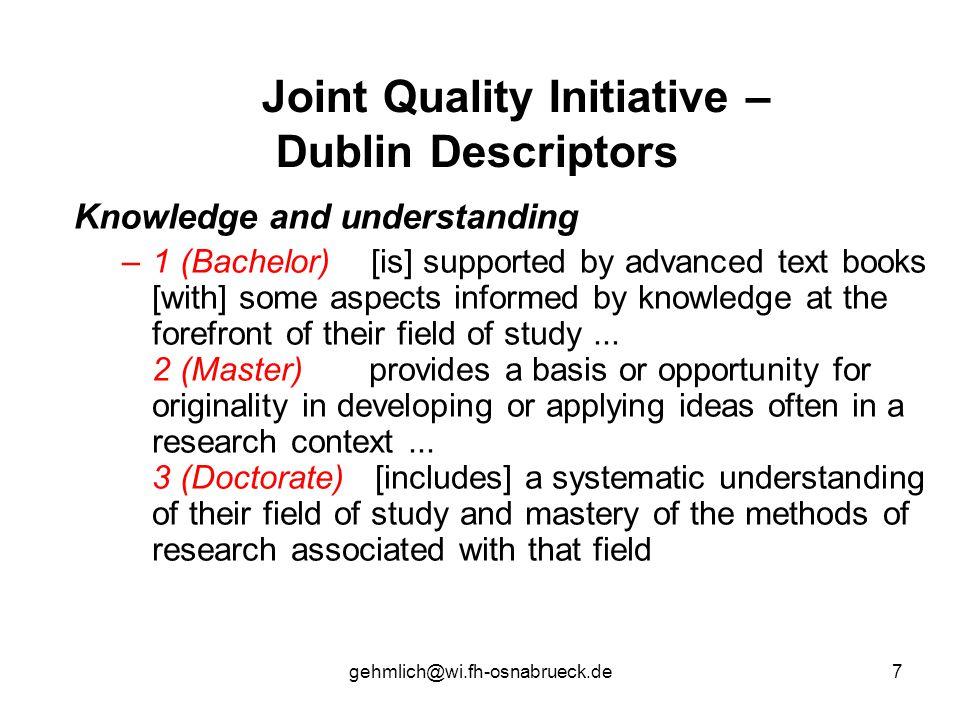 Joint Quality Initiative – Dublin Descriptors