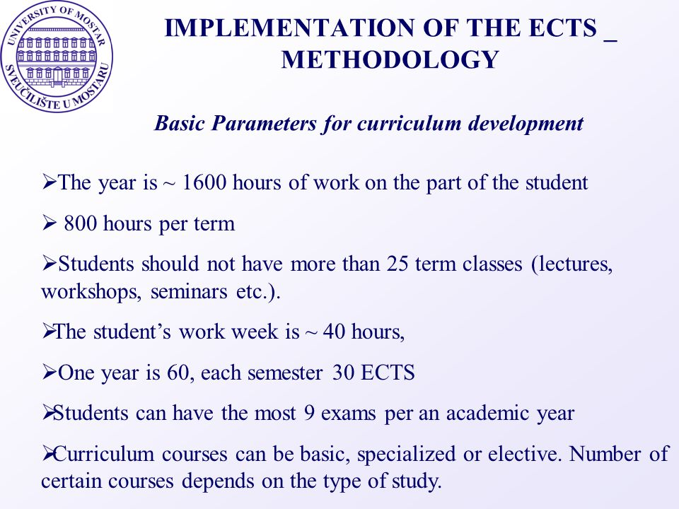IMPLEMENTATION OF THE ECTS _ METHODOLOGY