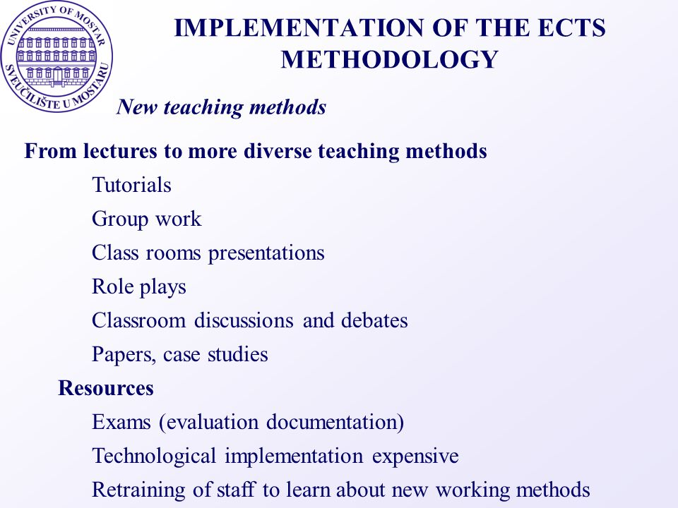 IMPLEMENTATION OF THE ECTS METHODOLOGY