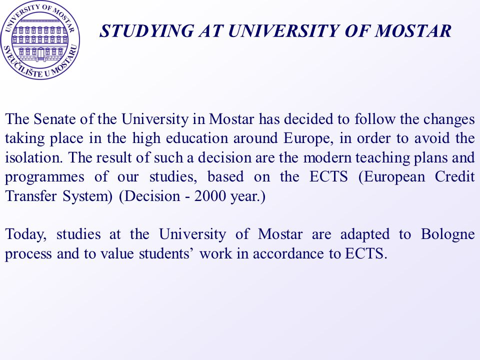 STUDYING AT UNIVERSITY OF MOSTAR