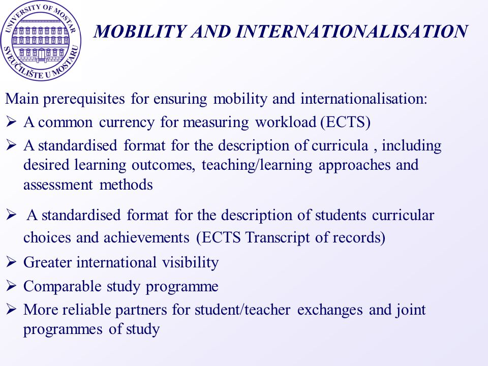 MOBILITY AND INTERNATIONALISATION
