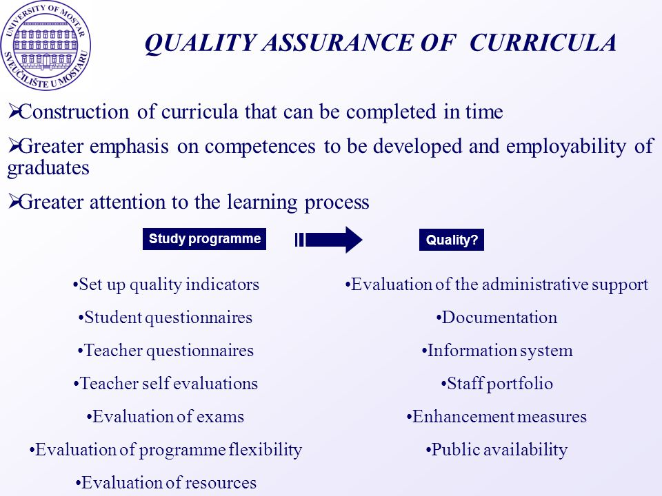 QUALITY ASSURANCE OF CURRICULA